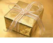 Perfect present in gold wrapping