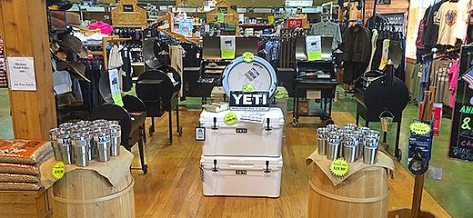 Come see our YETI Cooler and Traeger Grill section!